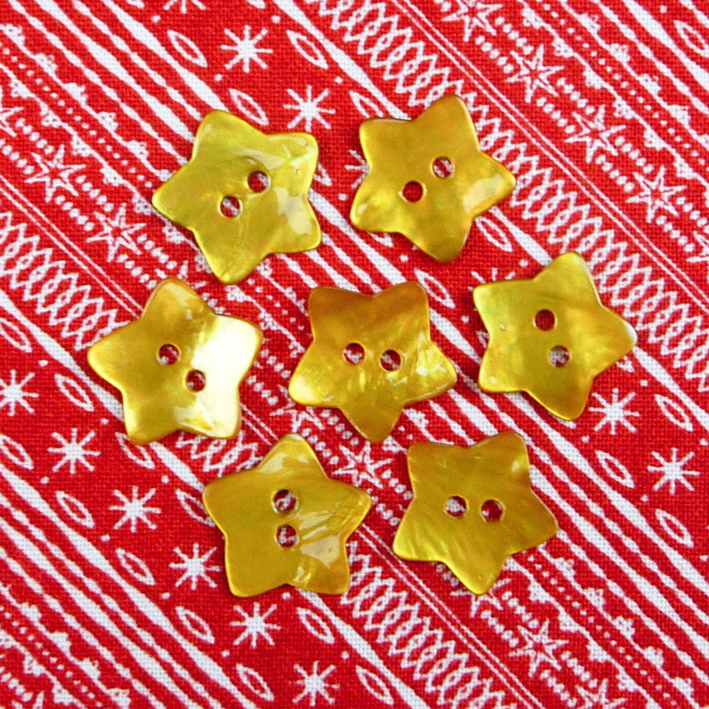 Mother of Pearl Star Buttons Gold ~ 15mm - Billow Fabrics