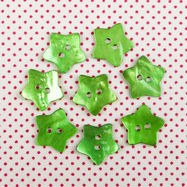 Mother of Pearl Star Buttons Green ~ 15mm