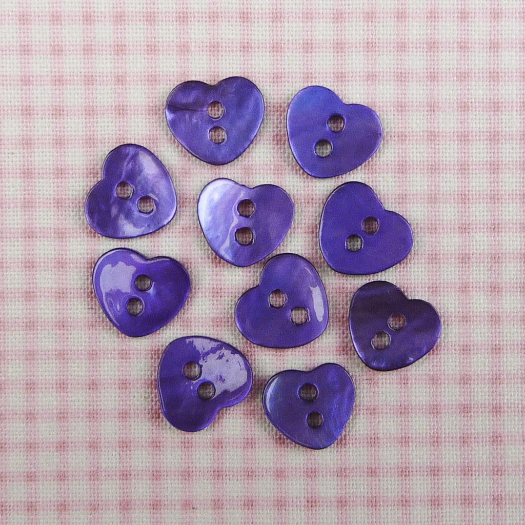 Mother of Pearl Heart Buttons Lavender ~ 10mm - Billow Fabrics