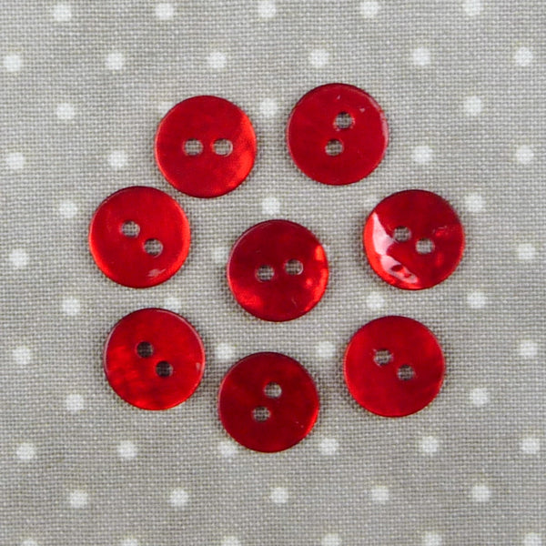 Mother of Pearl Round Buttons Red ~ 10mm