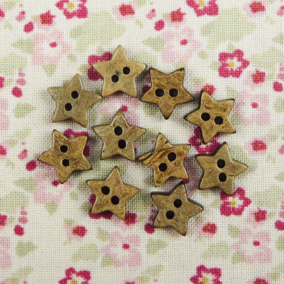 Coconut Star Buttons ~ 10mm - Billow Fabrics