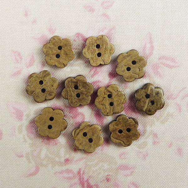 Coconut Flower Buttons ~ 10mm
