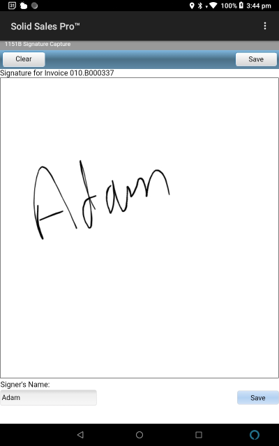 1151 Signature Capture Screen with Name