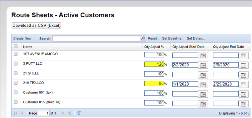 Route Sheets Build To - Active Customers