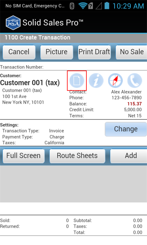 1100 Create Transaction Screen with Planogram Indication