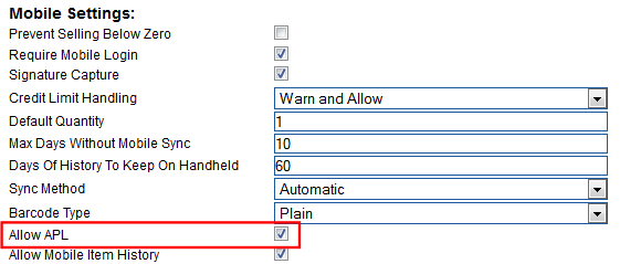 Enable APL Setting