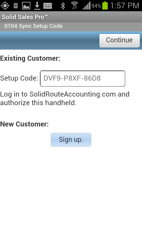 Solid Sales Pro 0104 Sync Setup Code Screen