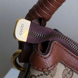 Gucci Canvas Hobo Bag With Leather Wrapped Strap