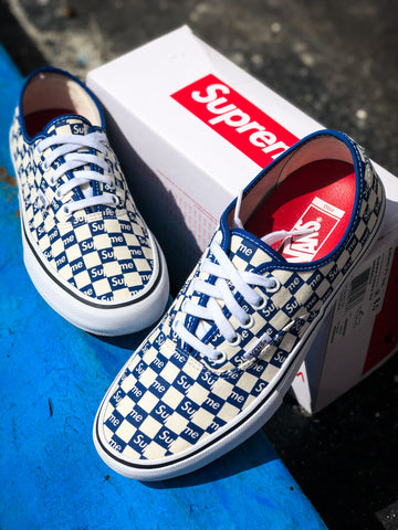 Supreme Vans Authentic Checkered Blue