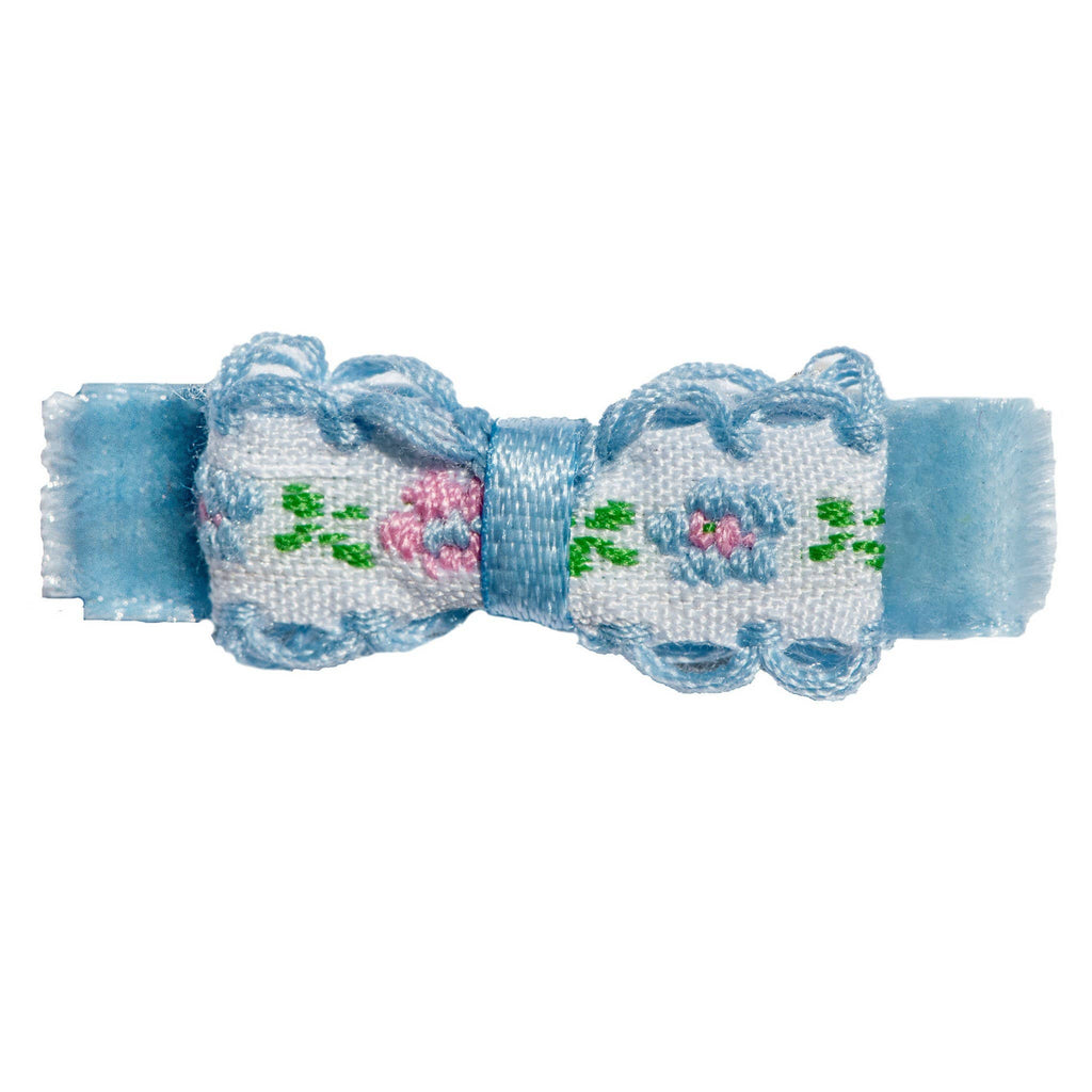No Slippy Hair Clippy - Irene Mini Embroidered Baby Bow