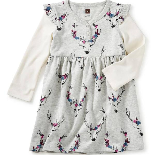 Tea Collection Oh Deer Print Button Neck Dress (6-9m, 9-12m, 4, 8, 10, 12)