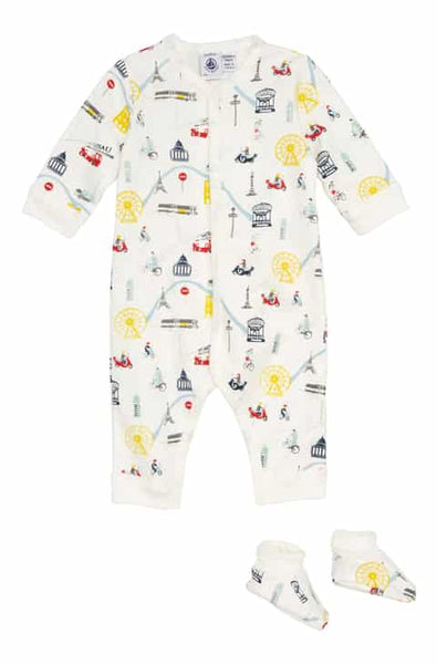 Petit Bateau BABY BOY LS PRINTED ROMPER WITH BOOTIES