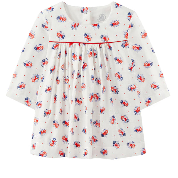 Petit Bateau: Floral Print Dress Long Sleeve (12m)