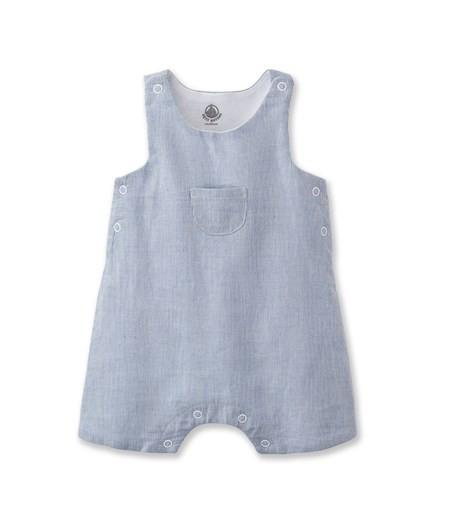 Petit Bateau Baby Overall with Front Pocket Blue