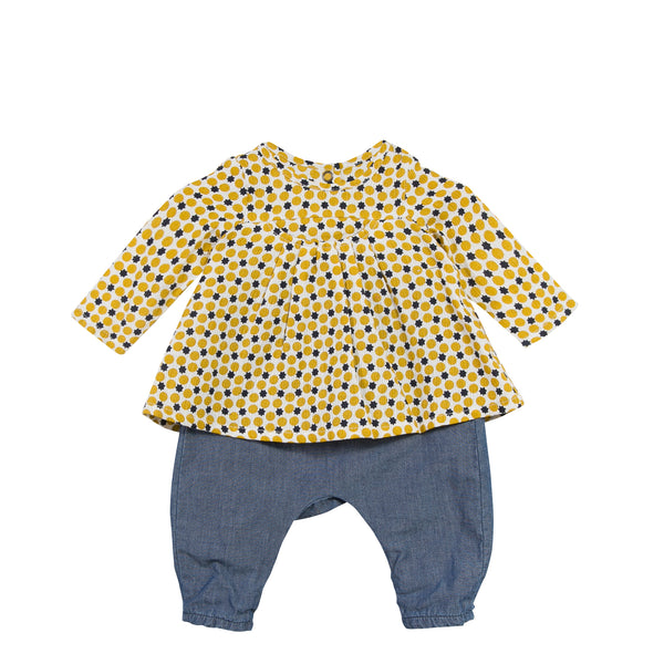 Catimini Blouse and Chambray Pants Set (3m, 6m)