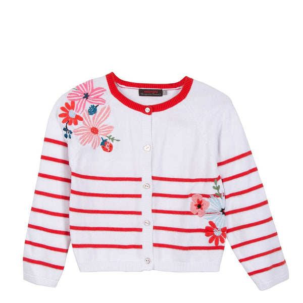 Catimini Cardigan Red White Stripe Candy With Floral Detail