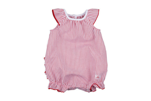 BABY GIRL STRIPED BUBBLE WITH BACK RUFFLES