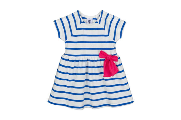 BABY GIRL SHORT SLEEVE STRIPED DRESS WITH Pink BOW