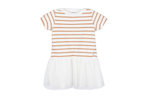 BABY GIRL SS STRIPED TOP DRESS WITH TULLE