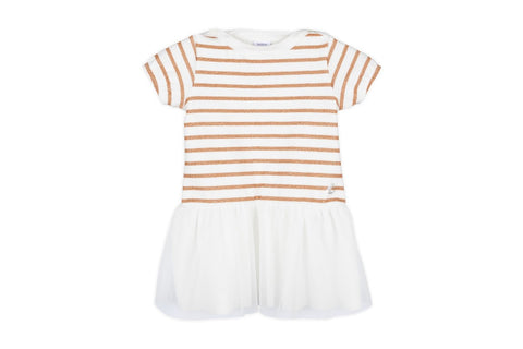 Petit Bateau Baby Girl SS Striped Top Dress with Tulle