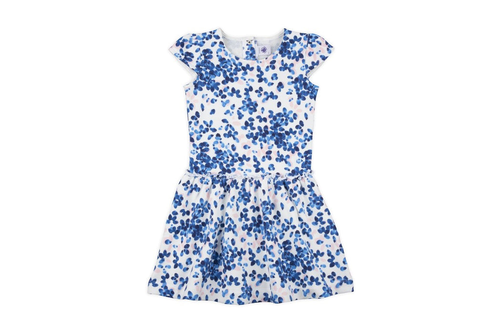 PETIT BATEAU GIRL PRINTED CUP SLEEVE DRESS (Size 3) - 50% OFF