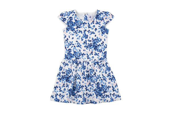 PETIT BATEAU GIRL PRINTED CUP SLEEVE DRESS