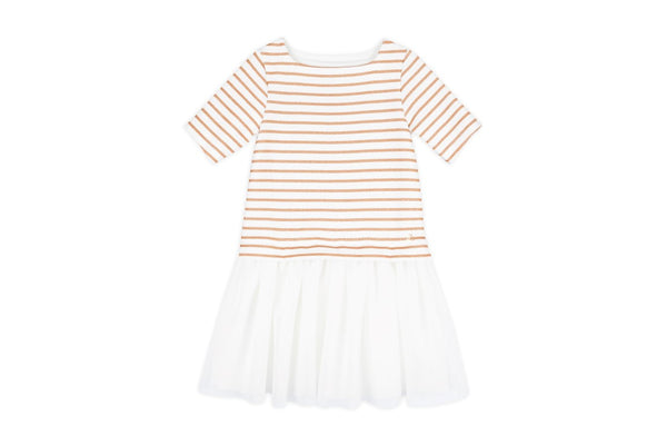 GIRL SHORT SLEEVE STRIPED TOP TULLE SKIRT  DRESS