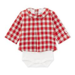 Petit Bateau Baby Checkered Shirt Bodysuit