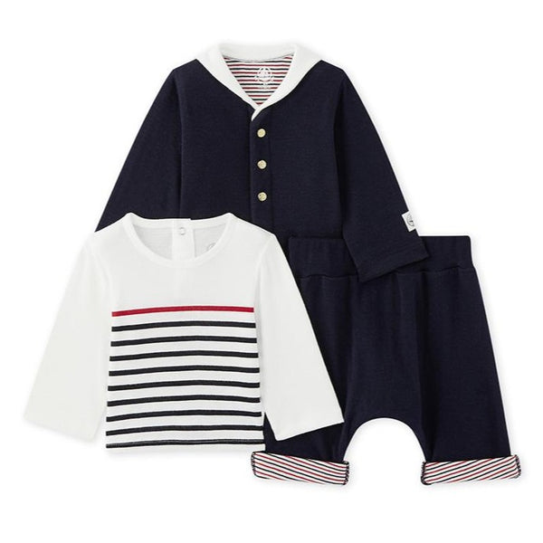 Petit Bateau Baby 3-PC STRIPED TOP PANTS & CARDIGAN Set