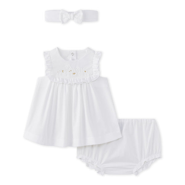 Petit Bateau BABY GIRL 3PC Set Dress Bloomer and Headband