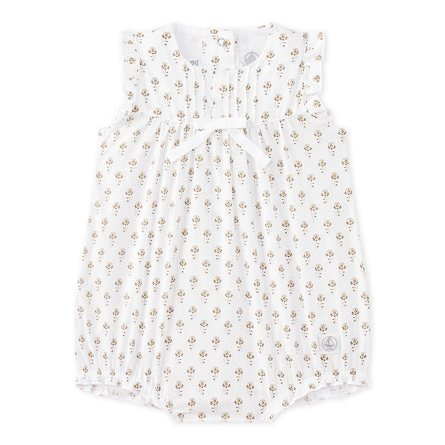 Petit Bateau Baby Girl Floral Sleeveless Bubble Romper
