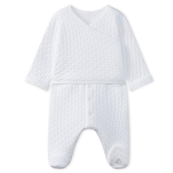 Petit Bateau QUILTED 2-in-1 COVERALL WITH CROSSOVER TOP