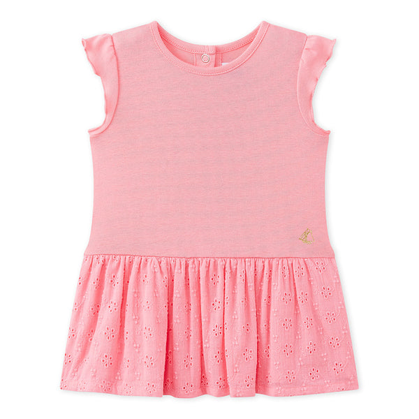 Petit Bateau Baby Girl Short Sleeve Eyelet Skirt Dress in Pink (12m, 18m)