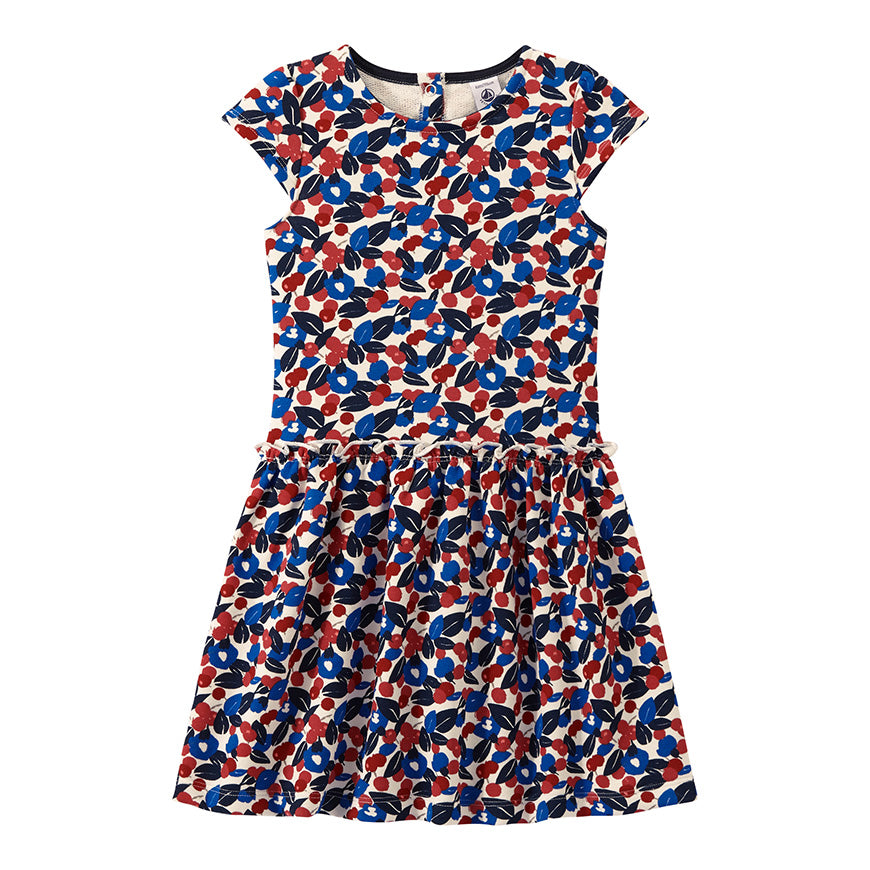 Petit Bateau Girl's Short Sleeve Printed Dress