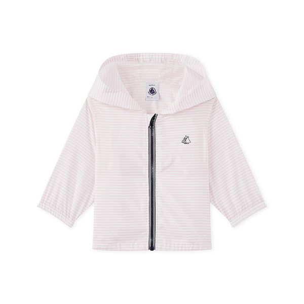 Petit Bateau Pink Striped Water-proof Windbreaker