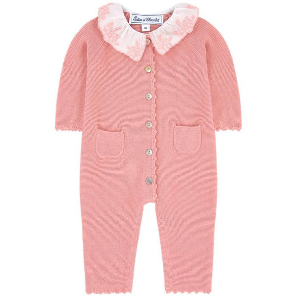 Tartine et Chocolat Baby Girl Pink Knitted Playsuit