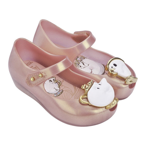 Mini Melissa Ultragirl + Beauty and The Beast - Metallic Pink 19763