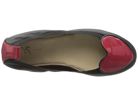 Yosi Samra Ballet Flat in Black and Garnet Red