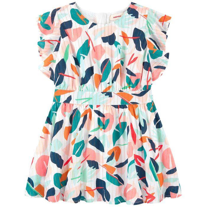Catimini Loose Fitting Dress in Iridescent Leafy Print (4Y)