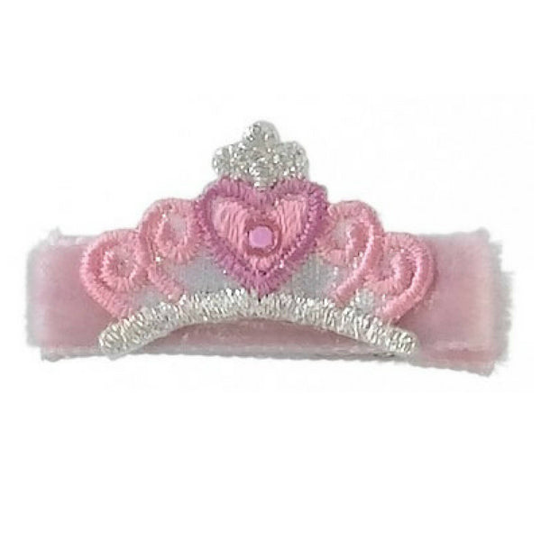 No Slippy Hair Clippy -  Hannah Pink Crown Novelty Mini Hair Clip