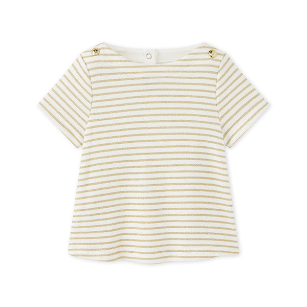 Petit Bateau BABY GIRL SHORT SLEEVE STRIPED SPARKLE TEE