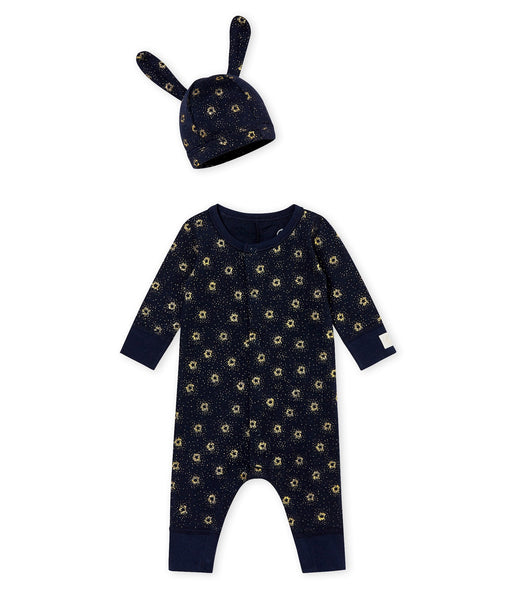 Petit Bateau Baby Long Sleeve Sparkle Romper with Bunny Ear Hat Set
