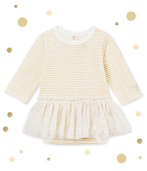 Petit Bateau Baby Girl Long Sleeve Striped Bodysuit with Tutu Dress