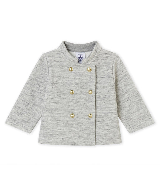 Petit Bateau Baby Girl Grey Cardigan with Gold Buttons
