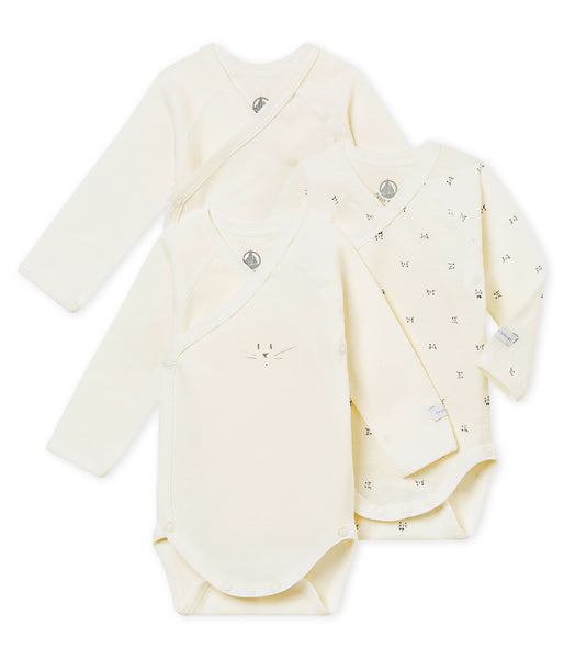 Petit Bateau Set of 3 Baby Long Sleeved Bodysuits