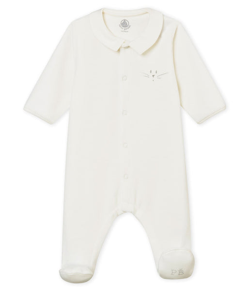 Petit Bateau Velour Front Snap Footie with Collar
