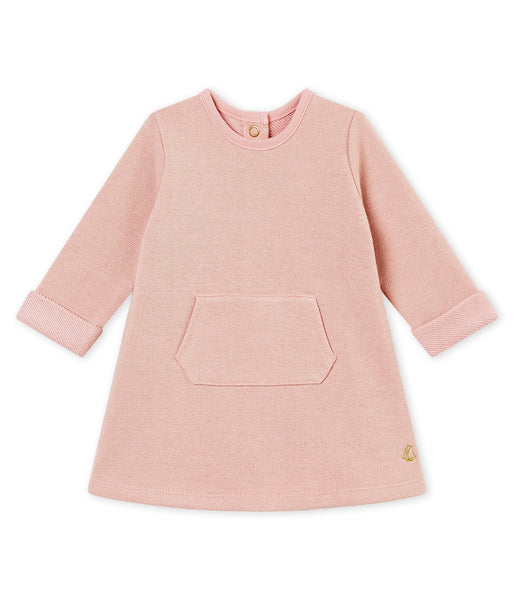 Petit Bateau Baby Girl Long Sleeve Dress with Front Pocket