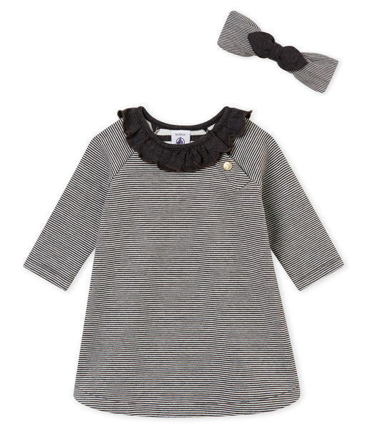 Petit Bateau Baby Girl 2 PC Set Long Sleeve Striped Dress and Headband