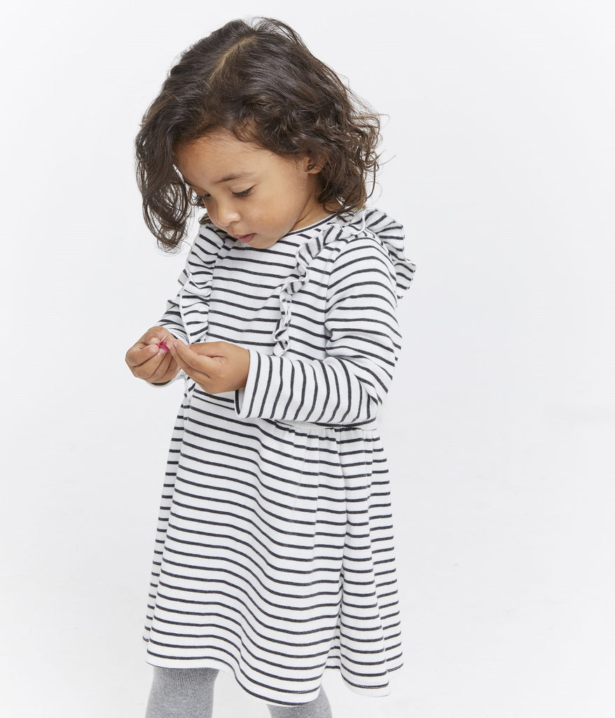 Petit Bateau BABY GIRL LS STRIPED DRESS WITH FRONT RUFFLES