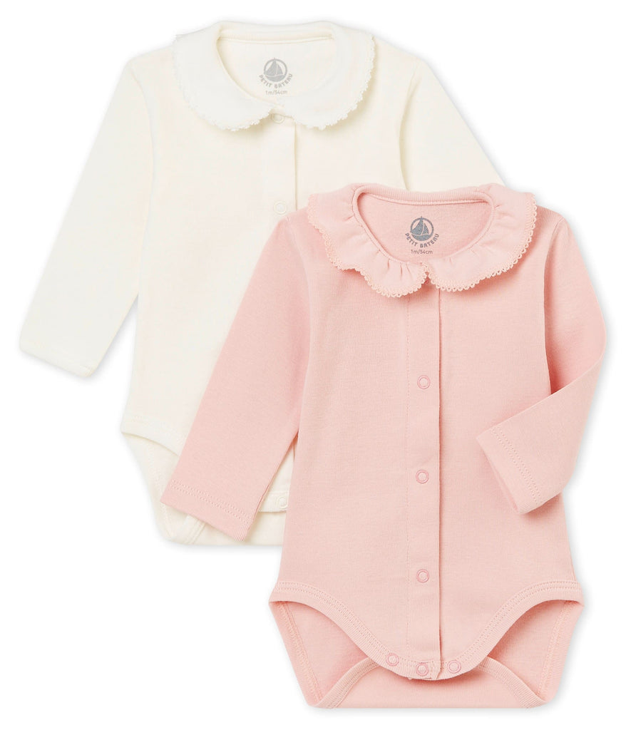 Petit Bateau Baby Girls Set of 2 Bodysuits with Collar (Size 1m, 3m, 6m)
